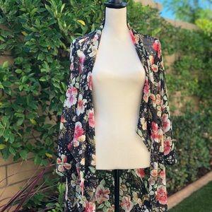 ZARA - sheer floral print coverup kimono duster